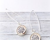 BLOOM FLOWER Silver Earrings / Yoga Earrings / Namaste Lotus Flower Jewelry / Everyday Earrings