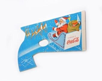 Vintage 1954 Coca Cola Holiday Santa Paper Pop Gun - Vintage Christmas Promotional Toy