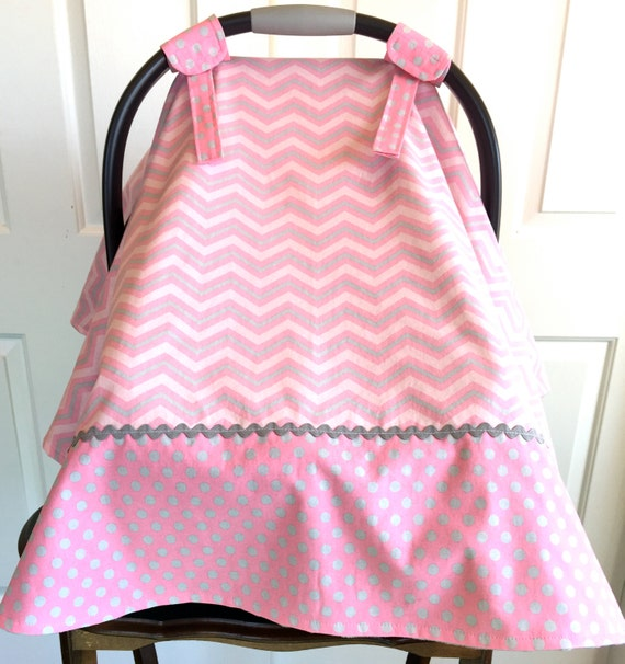 Baby Girl Car Seat Cover Pink Gray Chevron Amp Dots Gray Minky