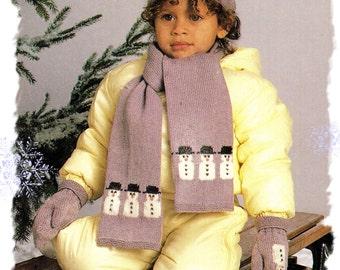 Instant Download PDF Intarsia Knitting Pattern to make Childrens Toddlers Hat Scarf Gloves Mittens & Leg Warmers Snowman Motif Winter Ski