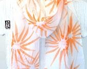Silk Scarf Handpainted, Summer Scarf, Mothers Day Gift, Orange Hanabi Flowers Scarf, Silk Chiffon Scarf. Orange Silk Scarf. 7x50 inches.