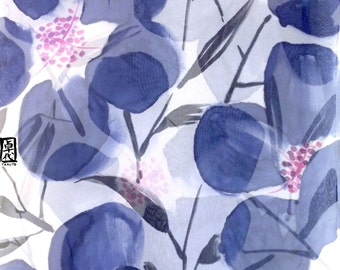 Hand Painted Silk Scarf, Silk Summer Scarf, Oversized Scarf, Navy Blue Evening Primroses, Silk Chiffon, 22x90 inch. Made to order.