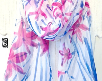 Scarf Fashion Boho, Spring Blue scarf, White Spring Scarf, Handpainted Scarf, Pink and Azure Blue Freesia Scarf, Chiffon Scarf, 11x60 inches