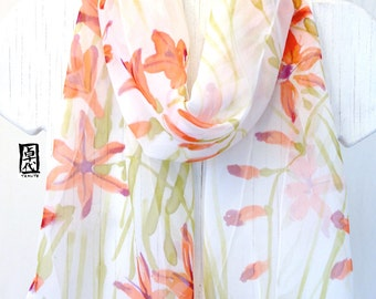 Silk Scarf Handpainted, Japanese Silk Scarf, Orange Freesia Floral Scarf, Silk Chiffon Scarf. Silk Scarves Takuyo, 10x59 inches.