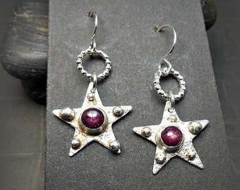 Sterling Silver Star Earrings with Red Star Ruby Cabochons and Stardust