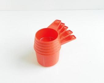 Vintage Orange  Tupperware Measuring Cups