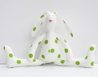 Stuffed bunny rabbit hare toy white green polka dots plush Easter bunny doll softie stuffed toy baby shower nursery decor