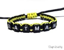 Batman Bracelet, Batman Jewelry, Superhero Bracelet, Boy Party Favors, Boy Bracelet, Name Bracelet, Boys Gift, Boys Jewelry, Kids Jewelry