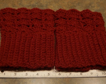 Super lacy topped boot cuffs, Done in Red! Warm and cozy and fashionable!
