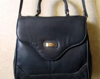 Vintage Crossbody Purse doctor bag with detachable strap vtg 90s long strap purse navy blue faux leather vegan shoulder bag