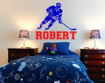 """Hockey Wall Decal with Personalized Name 31"""" Tall x 34"""" Wide"""