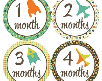 FREE GIFT, Baby Month Stickers, Boy, Monthly Baby Stickers, Baby Month Stickers, Baby Milestone Stickers, Airplanes, Rockets, Stars, Boy