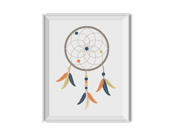 Dream Catcher, Dreamcatcher, Tribal Nursery Decor, Boy, Nursery Art, Children's Art, Feathers, Arrow, Blue, Orange, Tan, Tribal Nursery, Boy