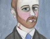 Bram Stoker, Literary Portrait Print, Dracula Author, Vampire love, Victorian Writer (6x8) Goth Illustration