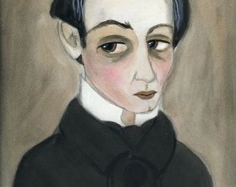 Victorian Portrait, Victorian Goth Art, Watercolor Portrait Illustration (6x8), Macabre Gentleman, Vampire Lover, Victorian Wall Decor, Seth