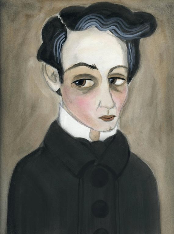 Victorian Goth Portrait, Watercolor Portrait Illustration (6x8) Goth Bookworm, Vampire Lover, Victorian Wall Decor, Seth