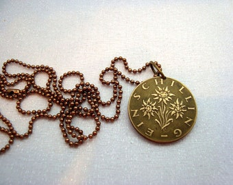 EDELWEISS coin necklace - 1973 1961 flower necklace - Austria necklace - Edelweiss flower - edelweiss necklace - flower jewelry