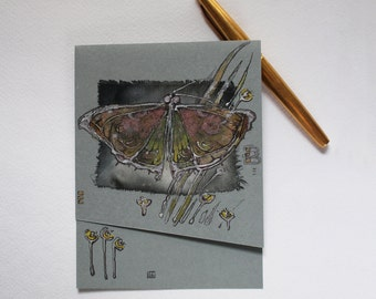 Dreaming butterfly - Night fly and wild flowers - blank art card - handmade greeting card for any event - gray lime green silver black OOAK