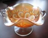 Vintage Carnival Glass Pedestal Bowl