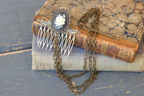 Steampunk Rose Cameo Hair Comb with Chain Rose Hair Comb Steampunk Costume Hair Comb