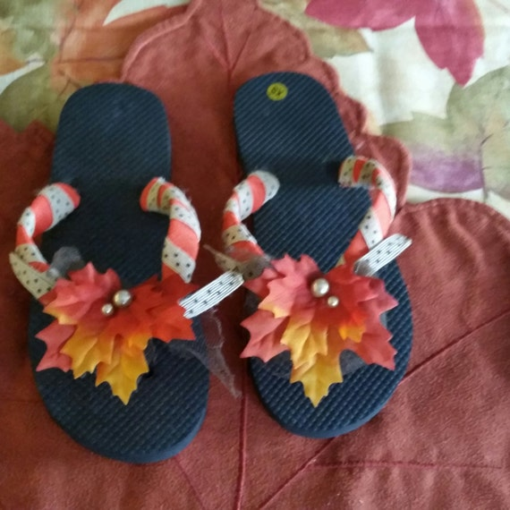 black fall themed flip flops with unique custom fall leaf. Black Bedroom Furniture Sets. Home Design Ideas