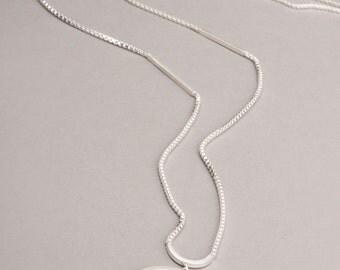 silver orbit long drop charm necklace | F E M M E collection
