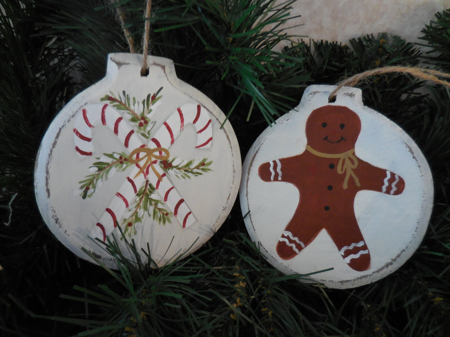 Primitive Christmas Hand Painted Wood Ornaments Candy Canes