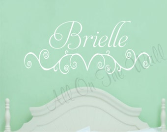 Girl Name Wall Decal Nursery Bedroom Decor Baby Girl Decals Vinyl Lettering Scroll Design Custom Wall Art