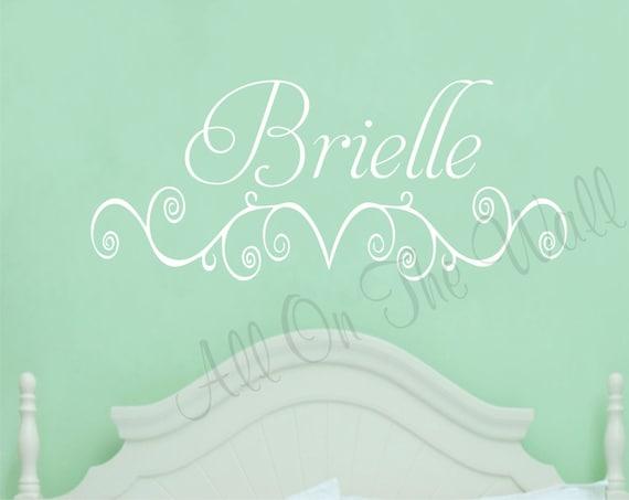Girl Name Wall Decal Nursery Bedroom Decor Baby Girl Decals Vinyl Lettering Scroll Design Custom Wall Art