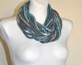 Grey and Mint Ifinity Scarf, Grey and Turquoise Crochet Scarf, Infinity Scarf, Crochet Infinity Scarf,
