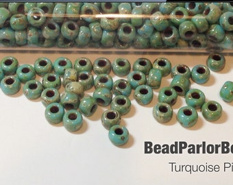 Turquoise Picasso Glass Seed Beads - BP-4514 - Size 6/0 - 28 grams