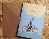 SALE - SEL - Ar Dy Feic Welsh On Your Bike Eco Friendly Art Greeting Card