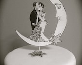 Wedding Cake Topper - Moon and Stars - Vintage Inspired- Bride And Groom - Silver Glitter