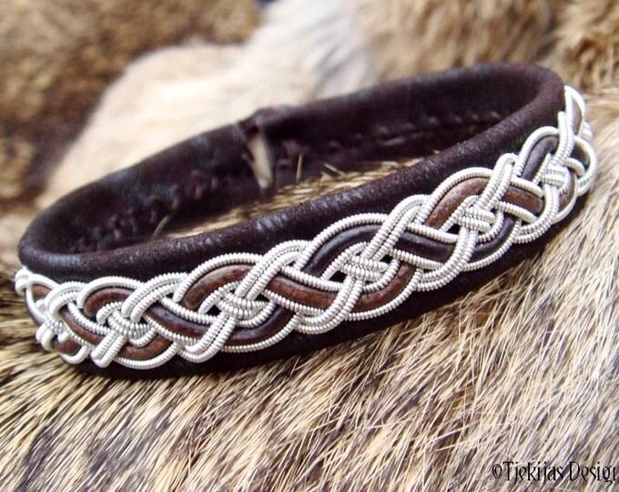 Sami Bracelet NIFLHEIM Lapland Viking Bracelet in Dark Brown Lambskin with Tin Thread braid and Antler button - Natural Handcrafted Elegance