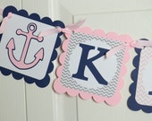 Anchor Birthday, Happy 2nd  Birthday Banner, Birthday Party, Anchor Theme, Nautical Theme , Gray, Light Pink and Navy Blue