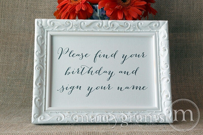 Guest Book Calendar Table Card Sign Find Your Birthday Sign – Signing a Birthday Card
