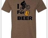 Mountain bike T-Shirt -I Bike for Beer-Mountain Bike Shirt in Heather Brown