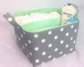 "LG Diaper Caddy 10""x10""x7"" Fabric Storage Bin Basket Organizer White Polka Dot on Grey with Mint Lining"