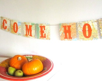 Welcome Home Banner, Map Banner, Orange and Yellow, Large Banner, Bon Voyage, Map Decor, Map Theme, Map Party, Customizable Banner