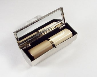 Lipstick Case Custom Engraved Personalized Nickel Plated Lipstick Case with Mirror  - Hand Engraved