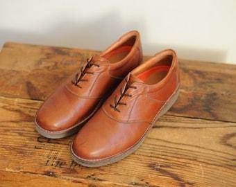 Vintage Rockport Brown Leather Oxford Mens Dress Shoes size 10 1/2