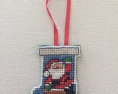 Cute Santa Clause Stocking Cross Stitch Christmas Ornament