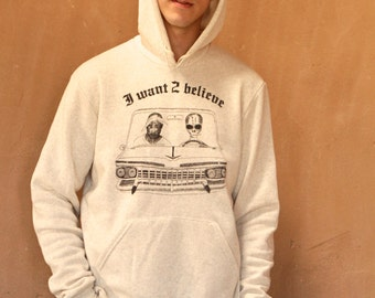 2PAC and ALIENS hooded cream I Want To Believe Tupac Shakur sweatshirt