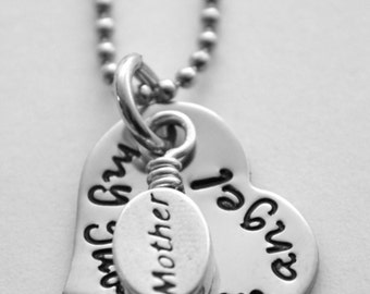 Memorial necklace - Mother memorial necklace - hand stamped stainless steel