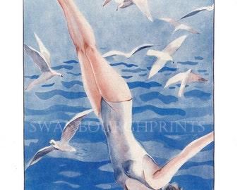Coastal Decor Swimming Diving Bathroom Print, Beach Style Blue Bathroom Art Print, Nautical Bathroom Makeover Print,French Marine Art Deco
