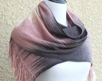 Woven long scarf, pashmina scarf, women wrap gradient color pink cream dark grey scarf with fringe