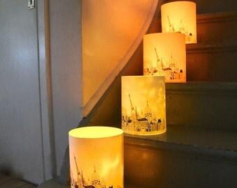 Set of 2 LARGE Paris Illuminated Paper lantern Originally Hand Drawn - just add candle
