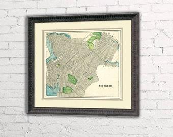 Old map of Brooklyn -  Brooklyn map restored - Old map  of Brooklyn fine print