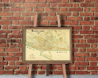 Manila map - Vintage map of Manila and suburbs - fine print - Old map reproduction - 16 x 22""