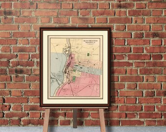 Old map of Manchester - Manchester  map  print  - Wall map of Manchester